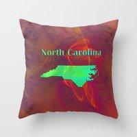 north carolina Throw Pillows featuring North Carolina Map by Roger Wedegis