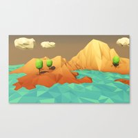 low poly Canvas Prints featuring Low Poly Landscape by error23