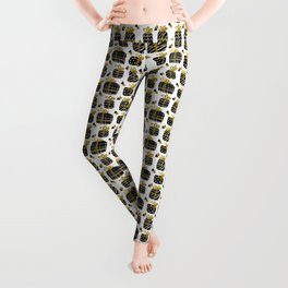 Black and Gold Giftboxes Pattern Leggings
