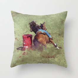 The Barrel Racer - Rodeo Horse and Rider Throw Pillow