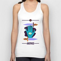 justice league Tank Tops featuring JUSTICE by badOdds
