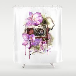 Camera in flowers Shower Curtain