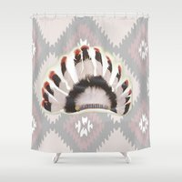 headdress Shower Curtains featuring Headdress by Ezgi Kaya