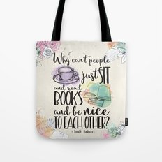 Why Can't People Just Sit And Read Books - Bookish Design Tote Bag