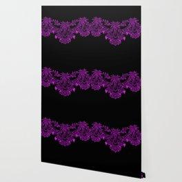 Vintage Lace Hankies Black and Dazzling Violet Wallpaper