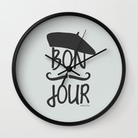 bonjour Wall Clocks featuring bonjour by miss Sue