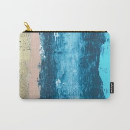 Glimmer: a pretty, minimal abstract mixed-media piece in blues, pink, and gold Carry-All Pouch