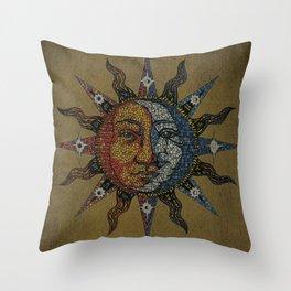 Vintage Celestial Mosaic Sun & Moon Throw Pillow
