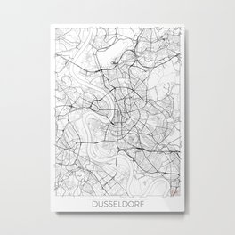 Dusseldorf Map White Metal Print