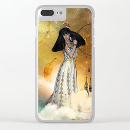 Beautiful amarican indian with dreamcatcher Clear iPhone Case