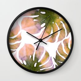 Monstera of pink and green watercolor Wall Clock