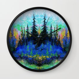 Blue Spruce Island Abstract Art Wall Clock
