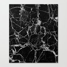 Black Marble with White Veining Canvas Print