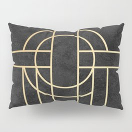 Art Deco Black Marble Pillow Sham