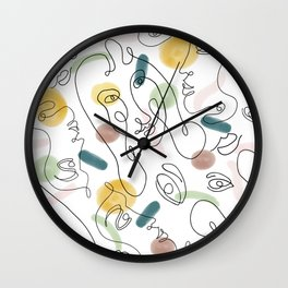 One Line Portraits Wall Clock