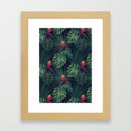 Tropical pattern with Guzmania flowers Framed Art Print
