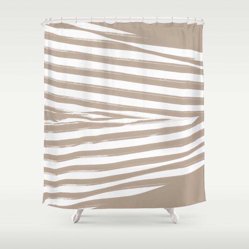 Beige Stripes Shower Curtain