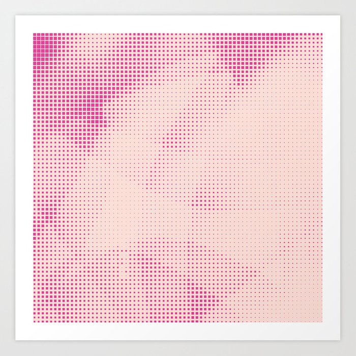 Pink and Rose Colored - Optical Game 24 Art Print