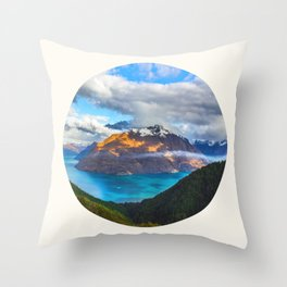 Mid Century Modern Round Circle Photo Beautiful Blue Mountain Lake With Green Pine Forest Throw Pillow