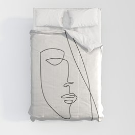 Half Face - Abstract Line Art Comforters