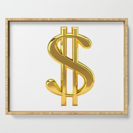 Gold Dollar Sign on White Serving Tray