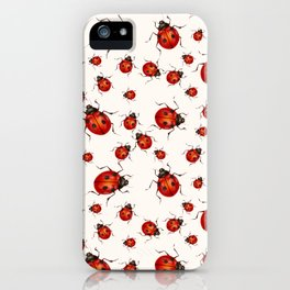 LOVING RED LADY BUGS  ON WHITE COLOR DESIGN ART iPhone Case