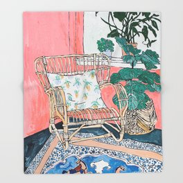 Cane Chair in Pink Interior Throw Blanket