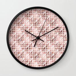 XOXO Kiss Me Rose Gold Pattern 2 Wall Clock