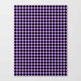 Black and Lavender Violet Diamonds Canvas Print