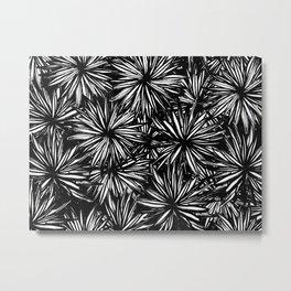 Black Stars And Flowers Metal Print