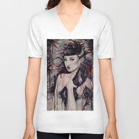 pinup V-neck T-shirts featuring pinup by Andreea Red