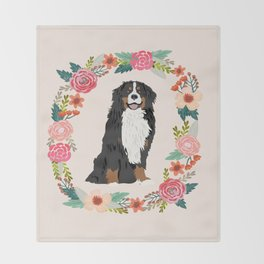 bernese mountain dog floral wreath dog gifts pet portraits Throw Blanket
