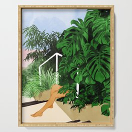 Hiding in Green #painting #illustration Serving Tray