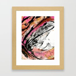 Motivation: a colorful, vibrant abstract piece in pink red, gold, black and white Framed Art Print