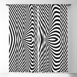 Black and White Pop Art Optical Illusion Lines Blackout Curtain