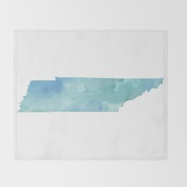 Watercolor State Map - Tennessee TN blue greens Throw Blanket
