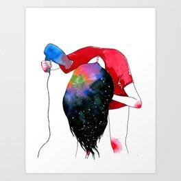hair drying Art Print