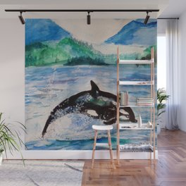 Whale watercolor Wall Mural