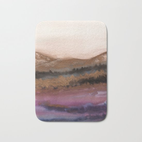 Watercolor abstract landscape 19 Bath Mat