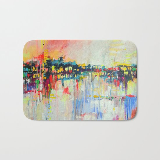 on the water,  expressive landscape, abstract Bath Mat