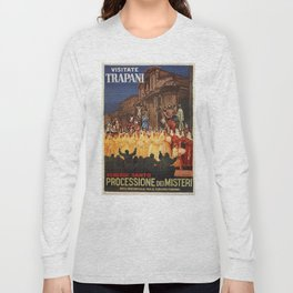 Italian travel ad Christian Easter procession Trapani Long Sleeve T-shirt