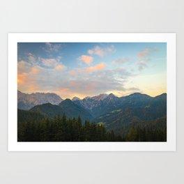 Stunning sunrise in Logar valley, Slovenia Art Print