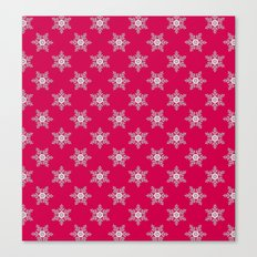 Snowflakes on a red background Canvas Print