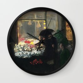 'Easter Eve Washington Square, NY floral flower seller portrait by John French Sloan Wall Clock