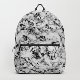 Black and White Veined Faux Marble Repeat Backpack