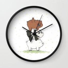 We Bare Bears by Maria Piedra Wall Clock