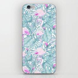 Neon pink green watercolor flamingo tropical leaves iPhone Skin