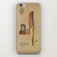new york map iPhone & iPod Skins featuring new york state map by bri.buckley