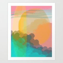 Shapes and Layers no.10 - Sun, Waves, Clouds, Sky abstract Art Print