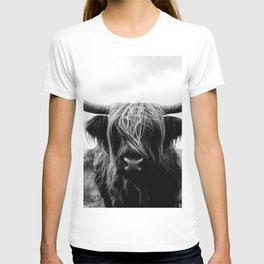 Scottish Highland Cattle Black and White Animal T-shirt